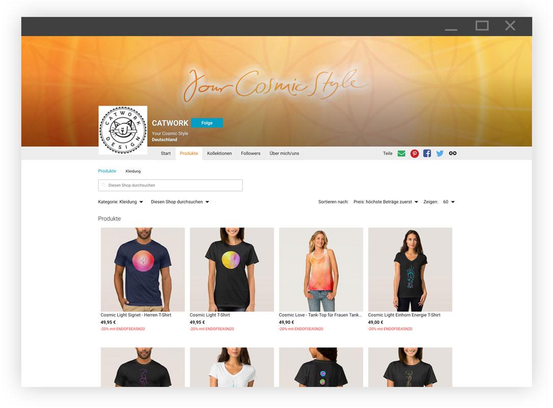 Zazzle Cosmic Light Store für energetisierte spirituelle Kleidung